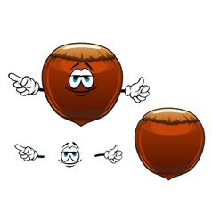 Smiling hazelnut fruit cartoon character vector image