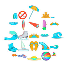 Sport exercises icons set cartoon style vector