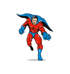 Super Hero Running Pointing Retro vector