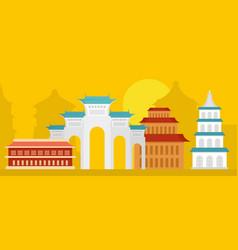 taipei city banner horizontal flat style vector image