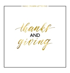 Thanks and Giving gold text isolated on white vector image