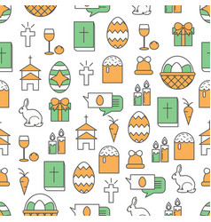 thin line art easter seamless pattern vector image
