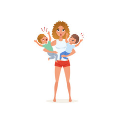 tired mother and her crying sons parenting stress vector image
