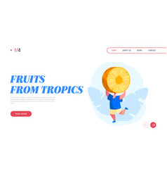 tropical fruits diet landing page template young vector image