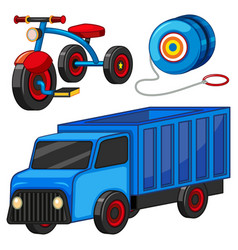 Truck and tricycle toys vector
