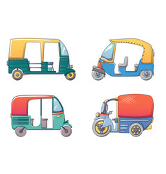 Tuk rickshaw thailand icons set cartoon style vector