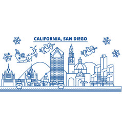 Usa california san diego winter city skyline vector