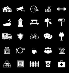 village icons on black background vector image