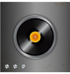 vinyl and dials on metallic background vector image