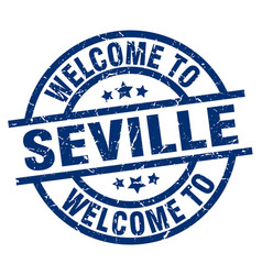 Welcome to seville blue stamp vector