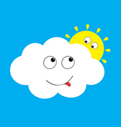 white cloud and yellow sun set looking to each vector image