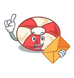 With envelope swim tube character cartoon vector