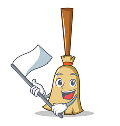 with flag broom character cartoon style vector image