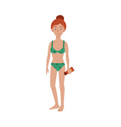 woman in swimsuit with sunscreen lotion bottle vector image