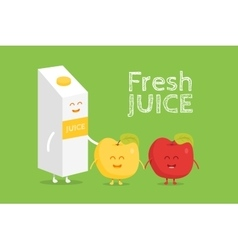 Funny cute apple juice packaging and glass drawn vector image