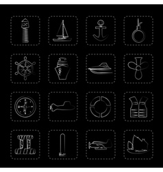 Simple Marine Sailing and Sea Icons vector image vector image