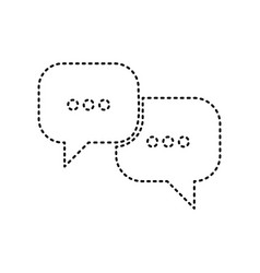 speech bubbles sign black dashed icon on vector image