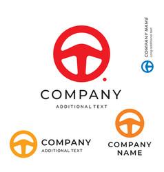 steering wheel shape logo emblem modern simple vector image