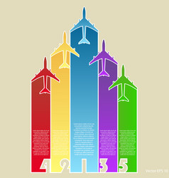 colorful airplanes with colorful background vector image