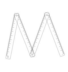 Folding ruler on white background vector image