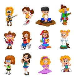 happy kid cartoon collection vector image vector image