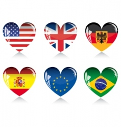 heart with flags vector image vector image
