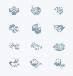 japanese sushi-bar icons - tech series vector image vector image