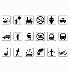 public transportation buttons vector image vector image