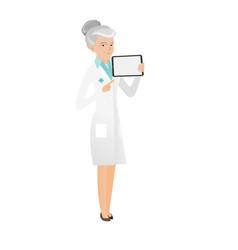 Senior caucasian doctor holding tablet computer vector