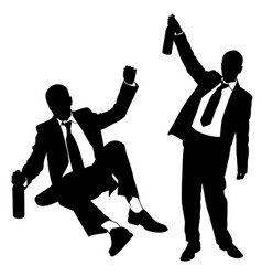 Silhouettes of drunk men vector