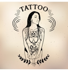 Tattoo girl old school studio skull vector image vector image