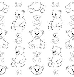 teddy bears contours seamless vector image vector image