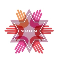 Shalom peace in Hebrew Jew star symbol of vector image vector image