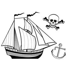 ship anchor and human skull vector image vector image