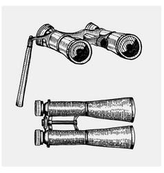 binocular monocular vintage engraved hand drawn vector image
