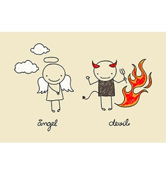 Cute angel and devil doodle vector image vector image