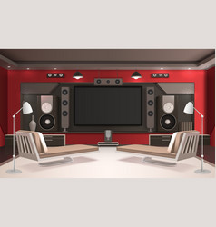 home cinema interior with red walls vector image