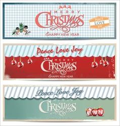 Merry Christmas retro banner set vector image vector image