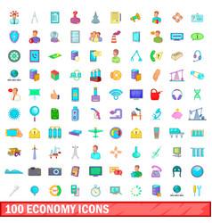 100 economy icons set cartoon style vector