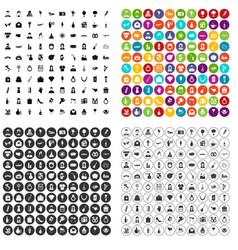 100 wedding icons set variant vector