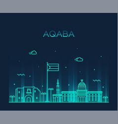aqaba skyline sudan big city linear style vector image