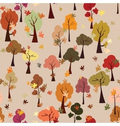 Autumn forest leaf fall seamless pattern flat vector image