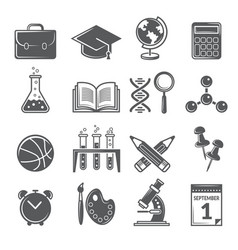 back to school icons monochrome school symbols vector image