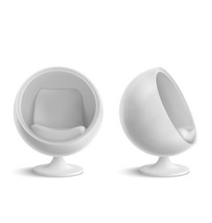 Ball chair round armchair front and side view vector