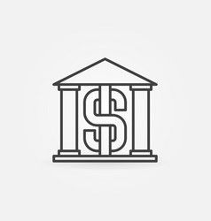 Bank building outline icon vector