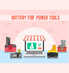 Battery for power tools online shop banner vector