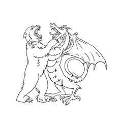 Bear fighting chinese dragon drawing black and vector