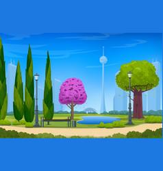 beautiful summer park realistic 02 vector image
