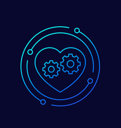 biotechnology thin line icon with heart and gears vector image