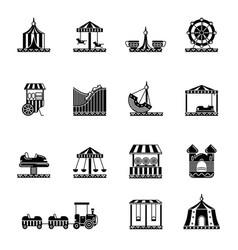 Black icon set of amusement park carousel vector
